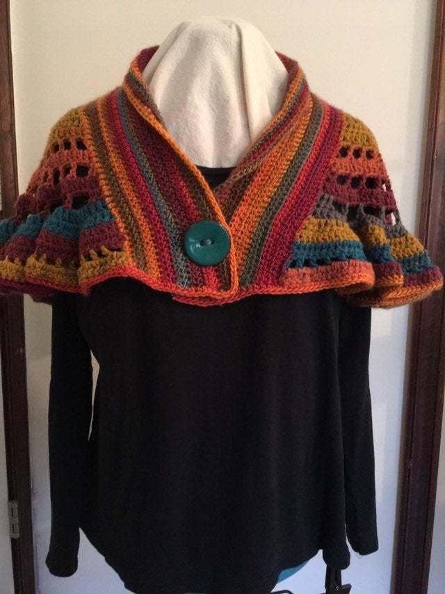 Southwest inspired crocheted capelet bolero style capelet