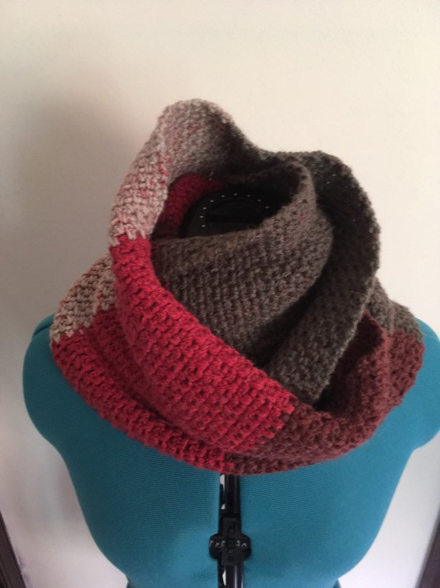 Red and Gray Infinity scarf red and gray cowl scarf crochet neck warmer