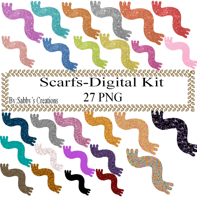 Glitter Scarf Digital Kit-Digital Clipart-Art Clip-Jewelry-T shirt-Notebook-