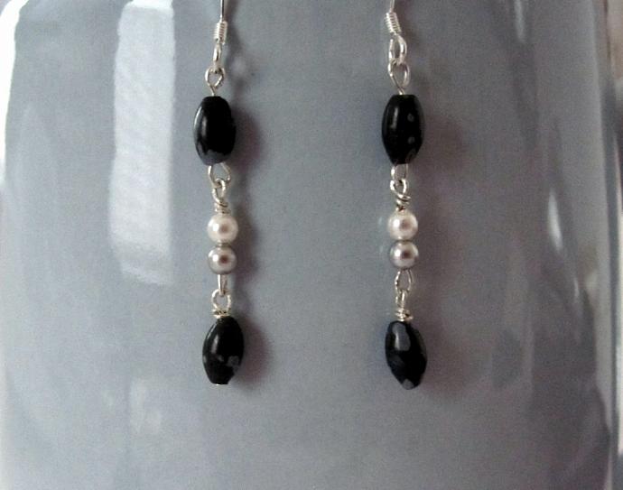 Snowflake Obsidian Semi-Precious Gemstone Earrings