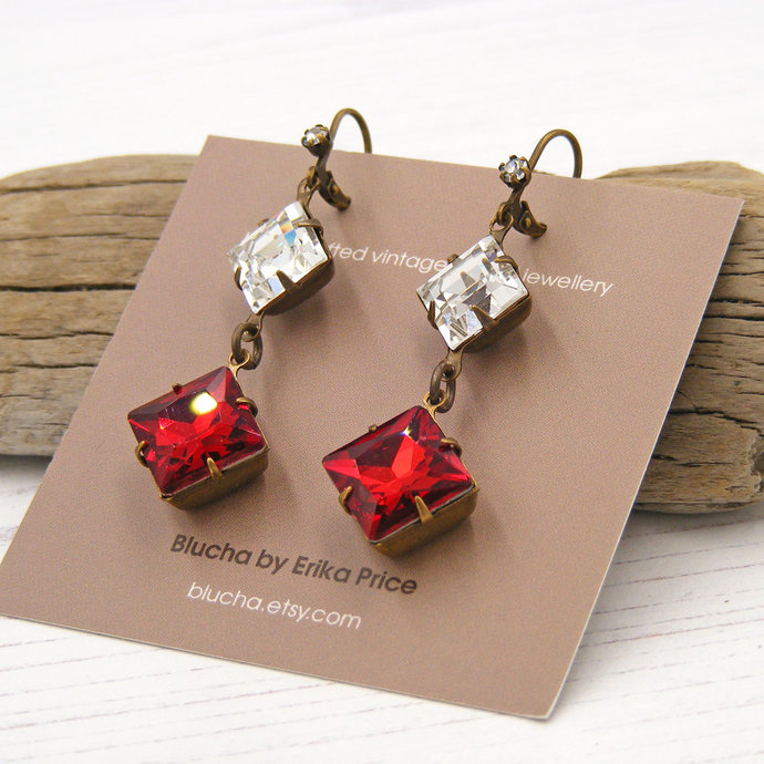 Siam Red Vintage Crystal Drop Earrings, Vibrant Scarlet Diamond Shape, Blucha™