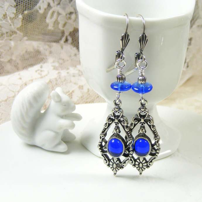 Deep Sapphire Blue Victorian Style Drop Earrings, Award Winning Arcadia by