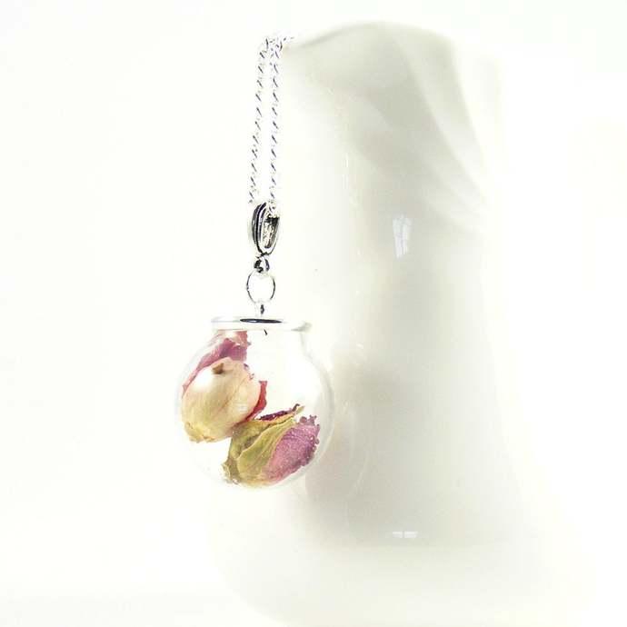 Real Rose Bud Necklace, Pink Rosebuds Glass Terrarium, Botanical Pendant, Real
