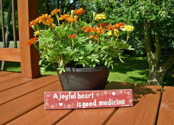 Wood Scripture Sign, Bible Verse Sign, A Joyful Heart is Good Medicine, Proverbs