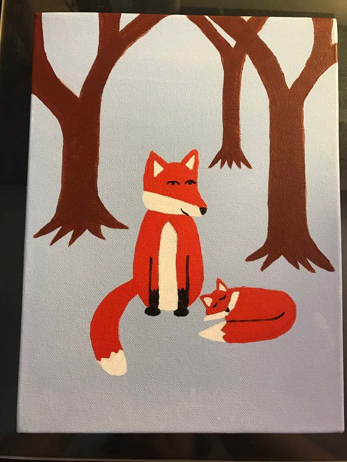 Mother Fox and Baby Fox in Forest - Original Painting