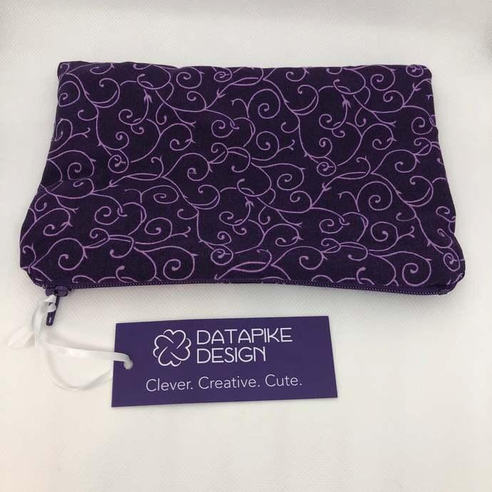 Flannel Lined Zipper Pouch Bag - Purple Swirls Fabric