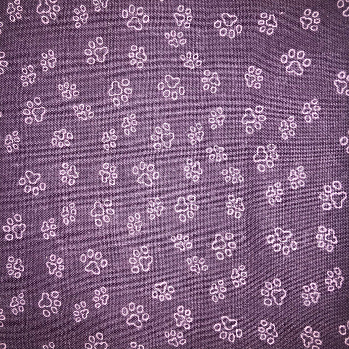 Flannel Lined Zipper Pouch Bag - Purple Pawprint Fabric