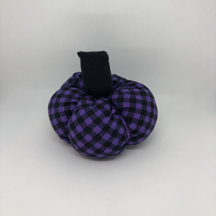 Small Purple Plaid Fall Decor Soft Fabric Pumpkin