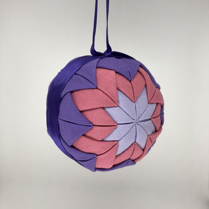 Purple and Pink Fabric Christmas Holiday Ornament