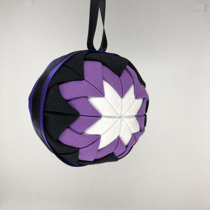 Purple and Black Fabric Christmas Holiday Ornament