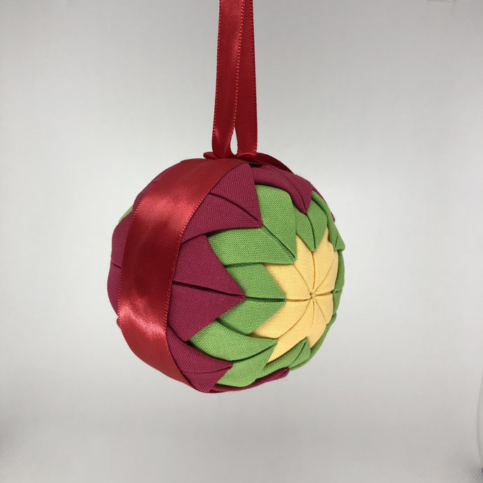 Red, Green, and Yellow Fabric Christmas Holiday Ornament