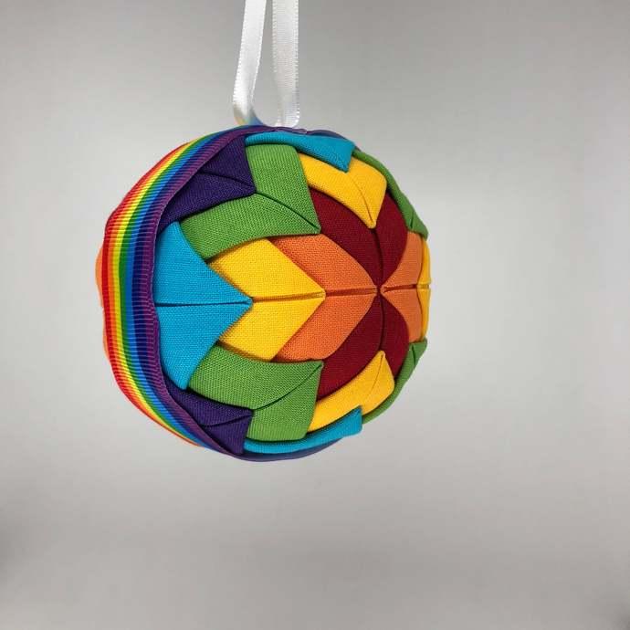 Rainbow Fabric Christmas Holiday Ornament
