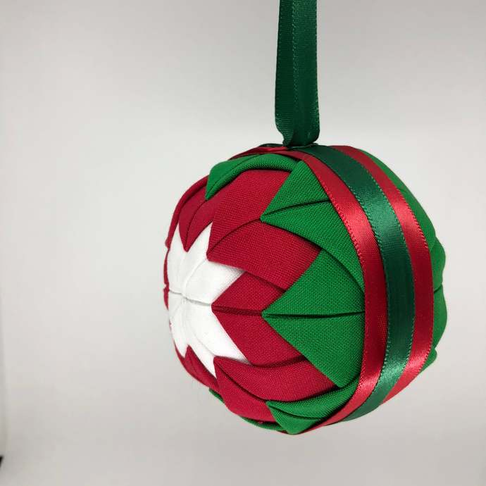 Red and Green Fabric Christmas Holiday Ornament