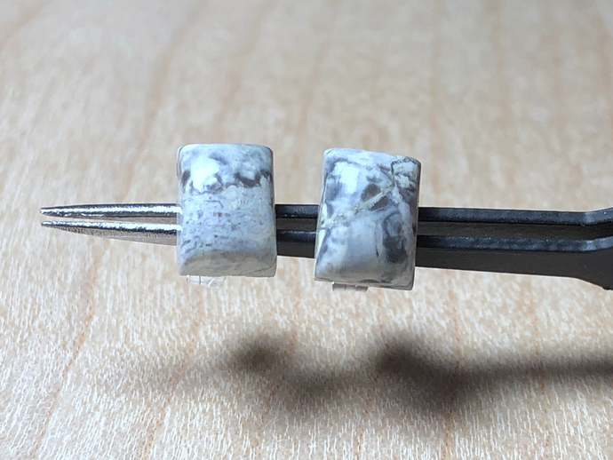 8x6mm Rectangle Poppy Jasper Gemstone Post Earrings with Sterling Silver