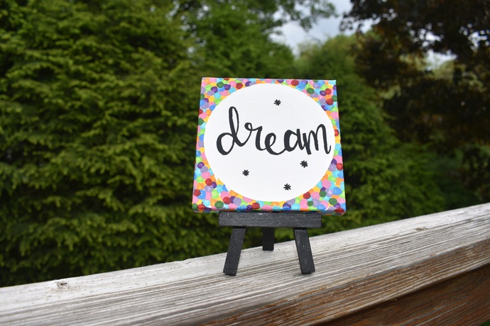 """Dream 4"""" x 4"""" hand painted canvas painting with easel"""