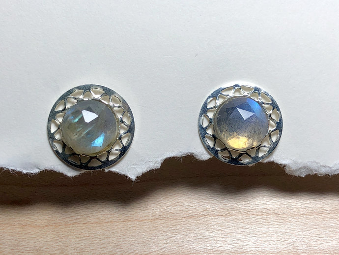 Faceted Labradorite Gemstone Post Earrings set in  Sterling Silver