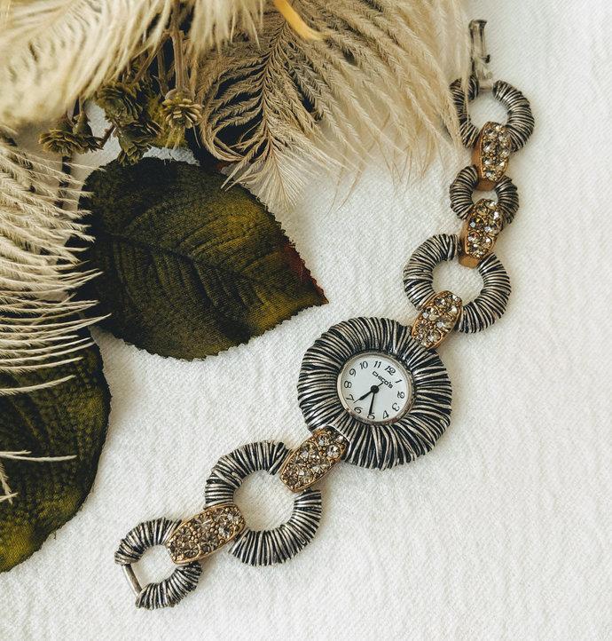 Vintage Retired Chico's Silver Wire Wrapped Brass Rhinestone Watch