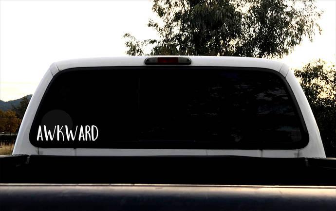 Awkward Decal,Socially Awkward, Unique Funny Car Decal, Awkward Gift, Instant