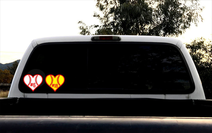 Baseball Heart Decal, Personalized Softball Sticker, Jersey Number, Car Decal,