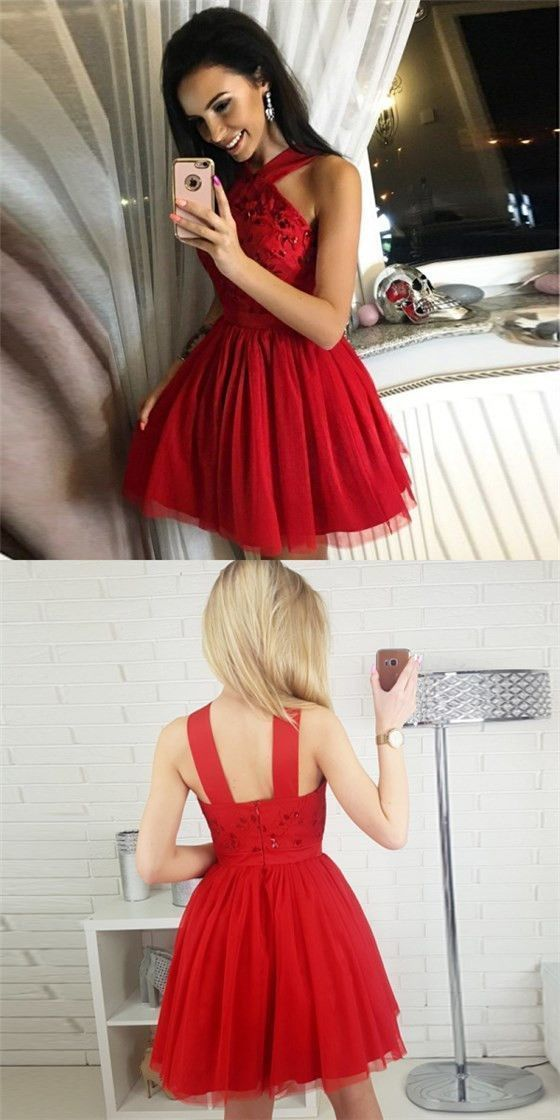 Pretty A-Line Halter Short Cheap Red Beaded Homecoming Dresses