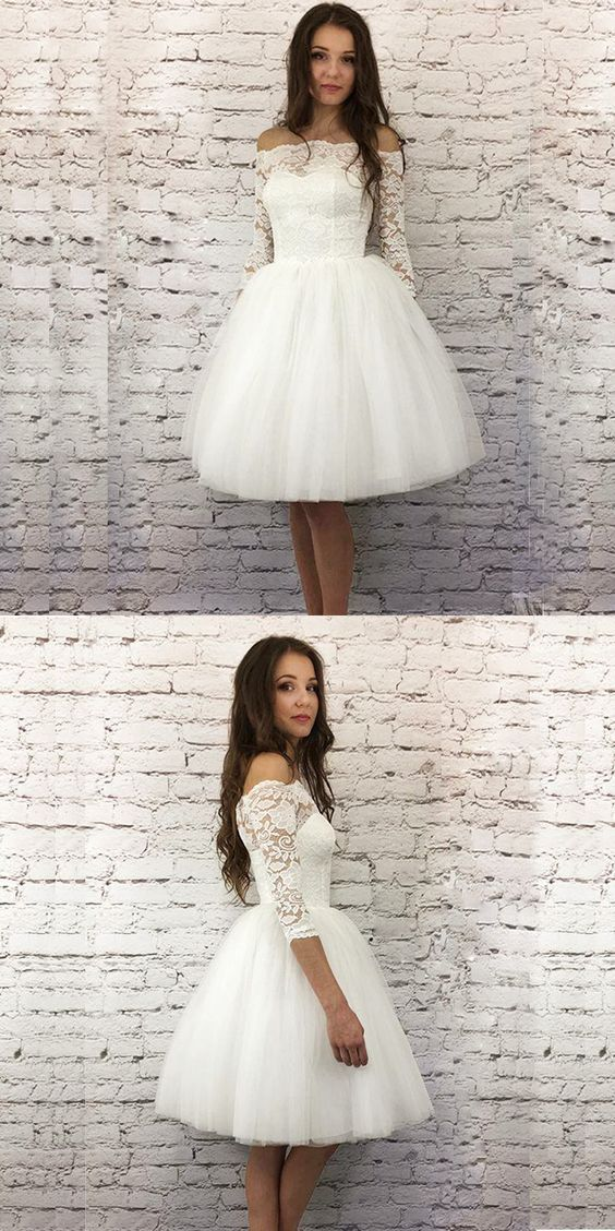 White A-Line 3/4 Sleeves Short Homecoming Dress With Lace