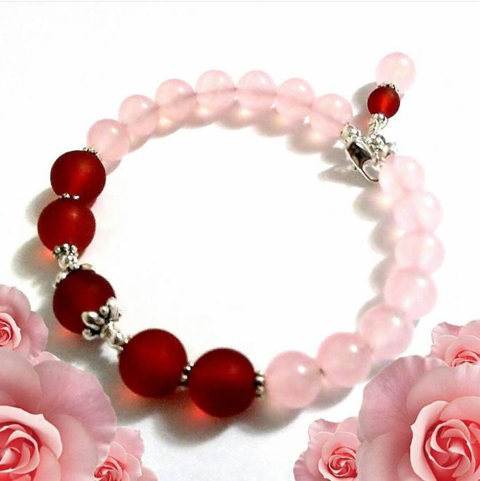 Rose Quartz Pink Burgundy Bracelet, Memory Wire Bracelet, Gemstone Bracelet,