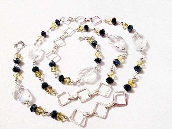 Midnight Blue Beads Necklace, Yellow Crystal Bead Necklace, Square Silver Link