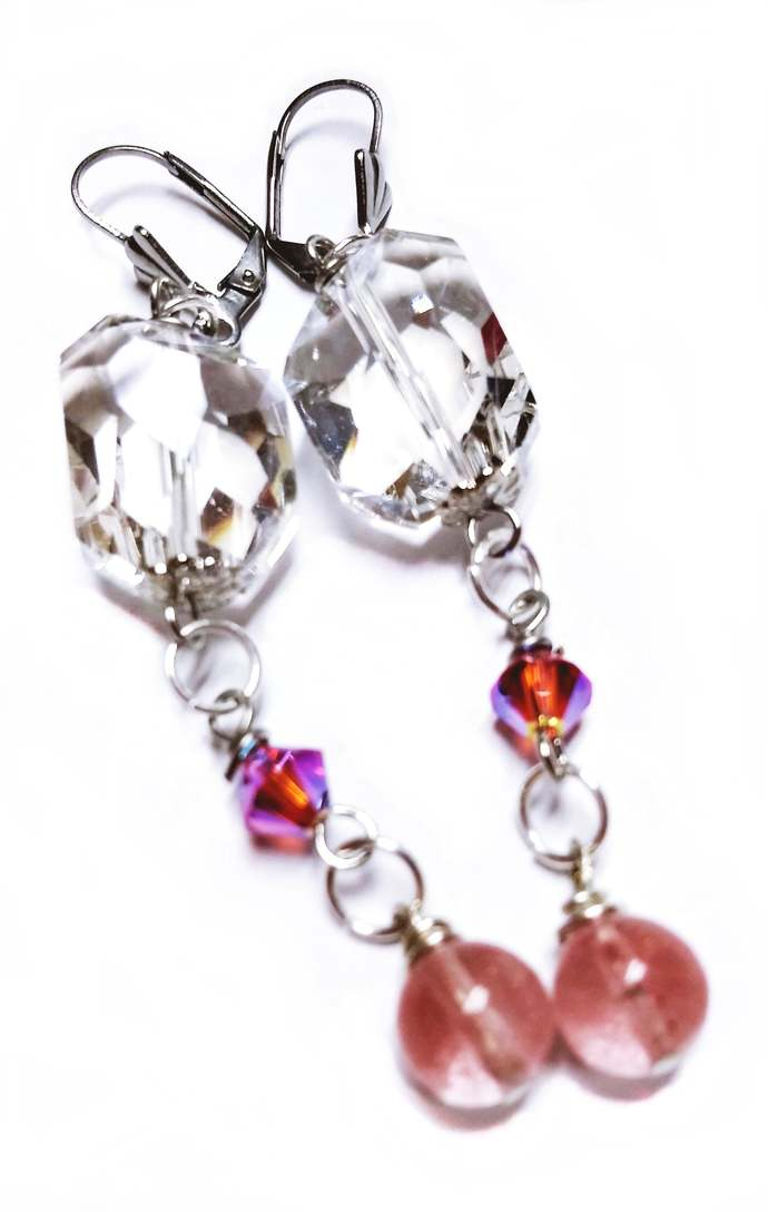 Free Form Chunky Clear Crystals, Rose Quartz Beaded Fuchsia Earrings, Girlfriend