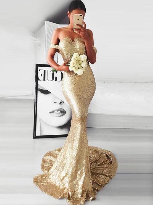 gold sequin bridesmaid dresses long mermaid off the shoulder elegant sexy