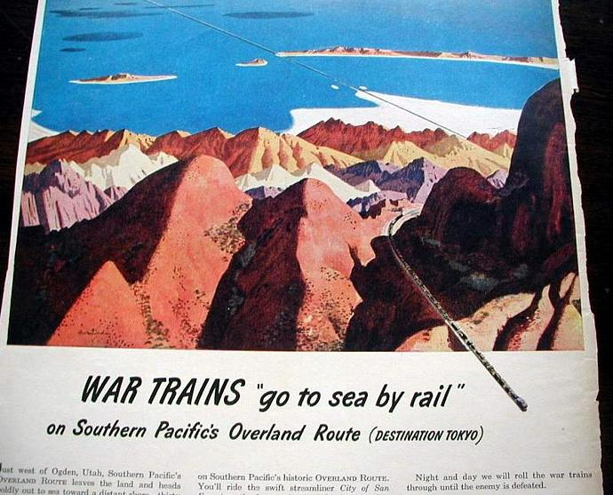 1945 Life Magazine Ad-Southern Pacific War Trains
