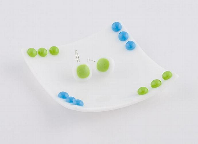 Fused Glass Earrings in Lime Green and White
