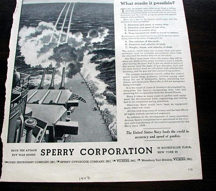 1943 Life Magazine Ad-BattleshipX. Sperry Corporation