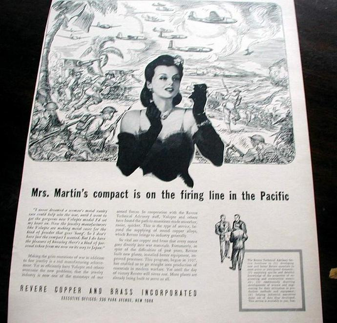 1942 Life Magazine Ad-Mrs Martin's Compact. Revere Copper and Brass  Inc.