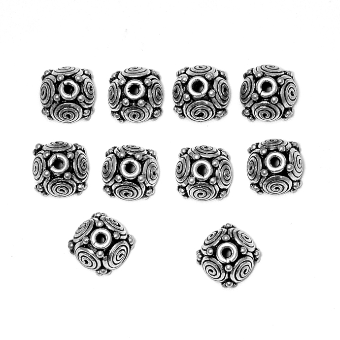 925 Sterling Silver Tassel Round Bead Flower Cap Jewelry Connector