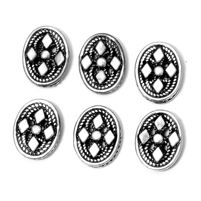 925 Sterling Silver Antique Spacer Flower Oval Strand reducer Beads