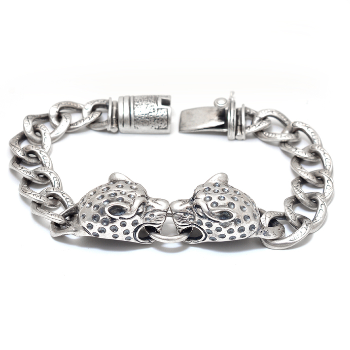 Solid 925 Sterling Silver Beautiful Handmade Two Lion  Link Bracelet Nicely