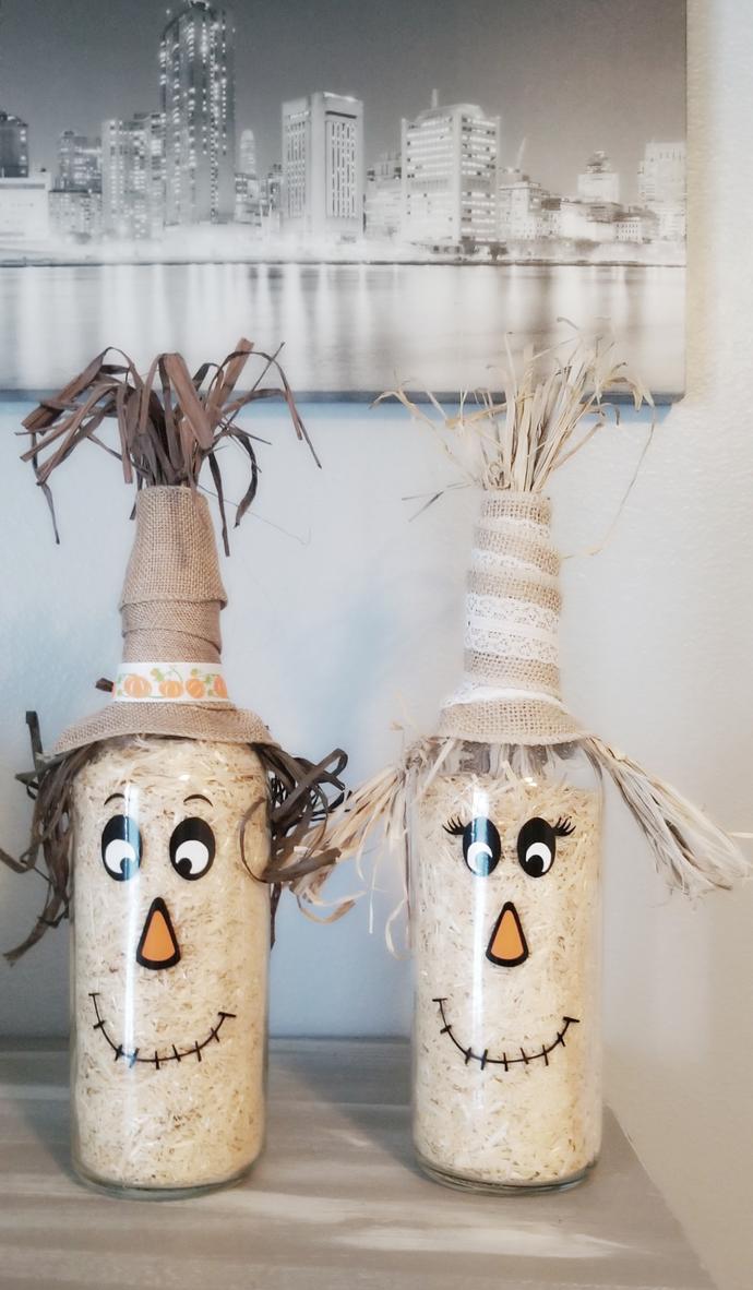 Scarecrow bottles, home decor, halloween decor, fall decor
