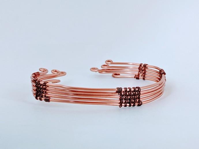 Handmade Woven Wire Bright Copper Bracelet