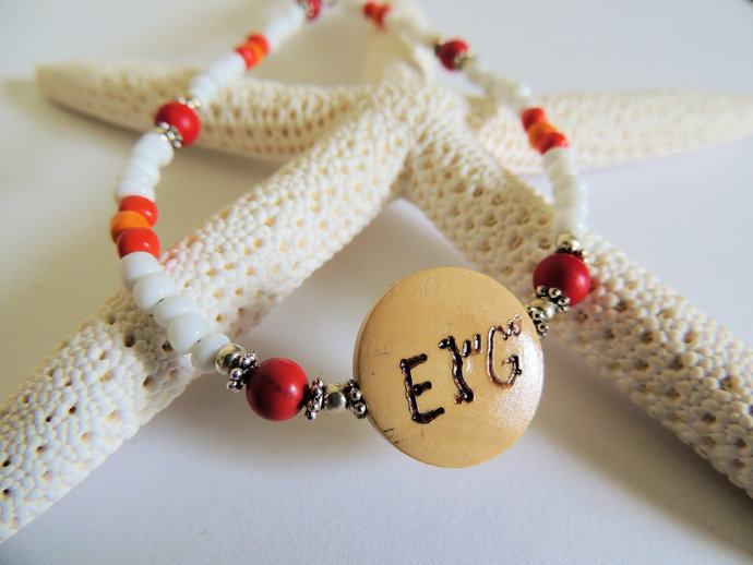 Cherokee Language Love Necklace, Corn Bead Jewelry, Gift for Sweetheart