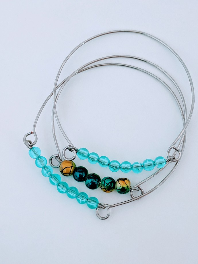 Handmade Beaded Wire Bangle