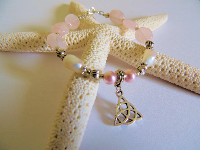 Triquetra Freshwater Pearl Bracelet, Rose Quartz Jewelry, Celtic Love Knot