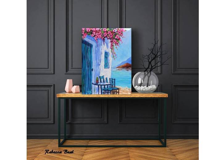 Santorini Blue & White Giclee Canvas Print Greece Colorful cafe flowers Signed