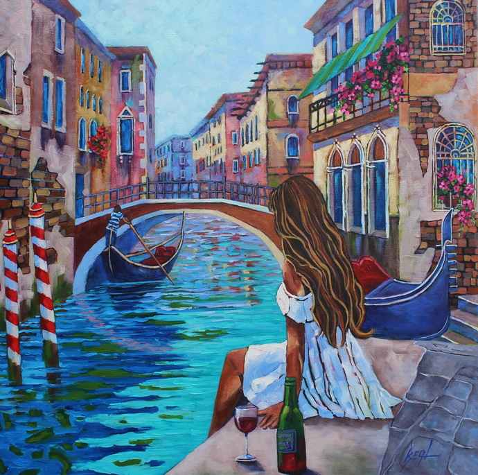 Venice Giclee Print on Canvas Colorful Wall Art City of Love Original Home Decor