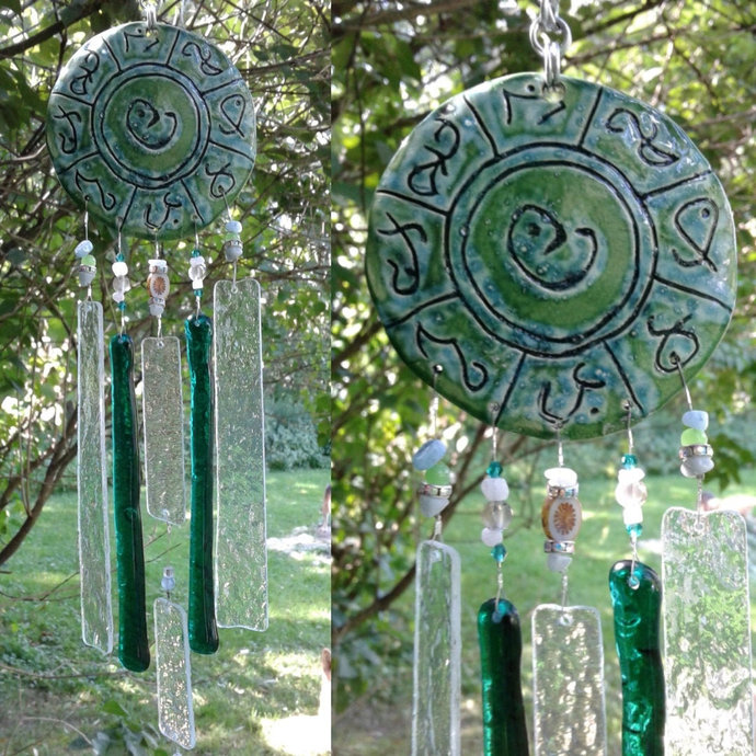 Lemurian Atlantis Glass Wind Chime MU Pottery Chimes Turquoise Green & Crystal