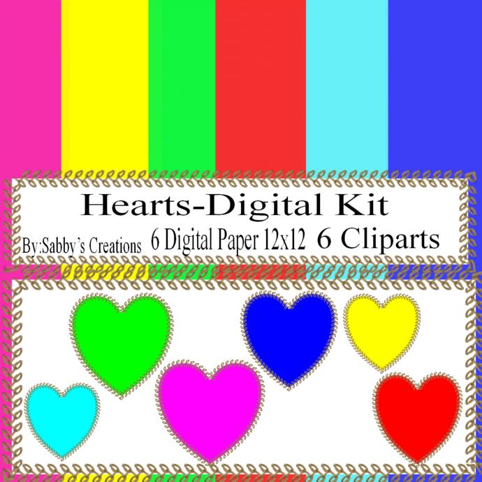 Hearts Digital Kit 10-Digtial Paper-Bunny-Egg-Art Clip-Gift