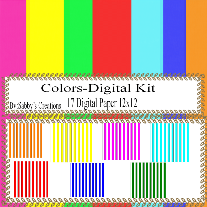 Color Digital Kit-Digtial Paper-Art Clip-Gift Tag-Jewelry-T