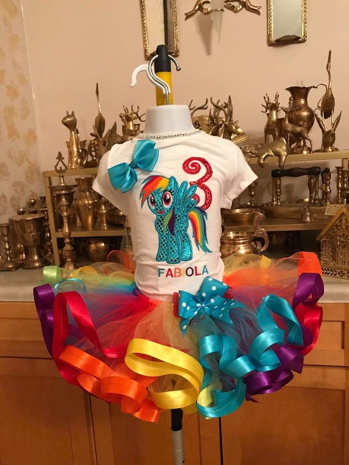 Rainbow dash tutu set, rainbow dash my little pony tutu set, rainbow dash