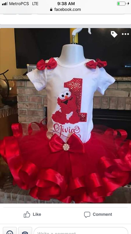 Elmo birthday outfit, Elmo tutu set , baby Elmo tutu set, Elmo birthday shirt
