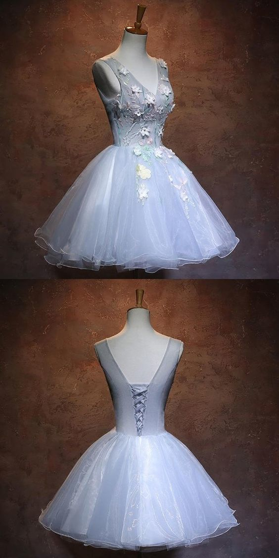 New Arrival Light Blue Homecoming Dresses With Appliques,Affordable Organza