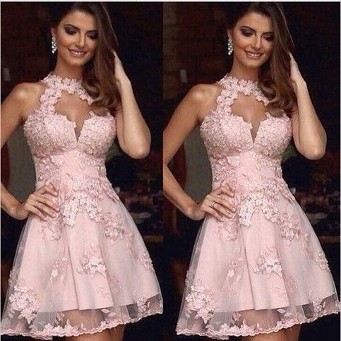 Sexy Prom Dress, Mini Short Prom Dress, Light Pink A-line Prom Dress, Sheer Neck